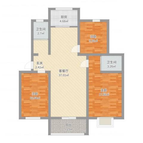 金德花园3室2厅2卫1厨116.00㎡户型图