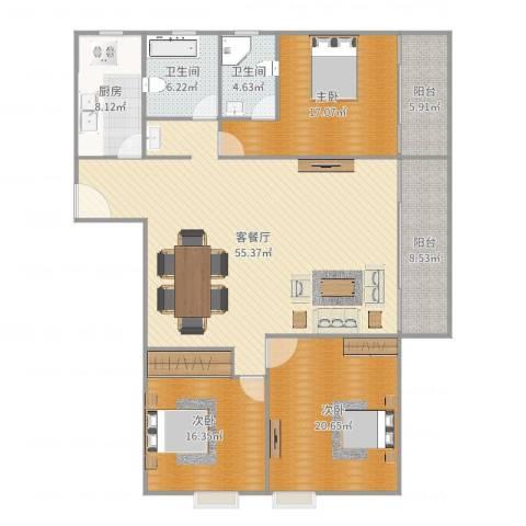 泛华大厦3室2厅2卫1厨179.00㎡户型图