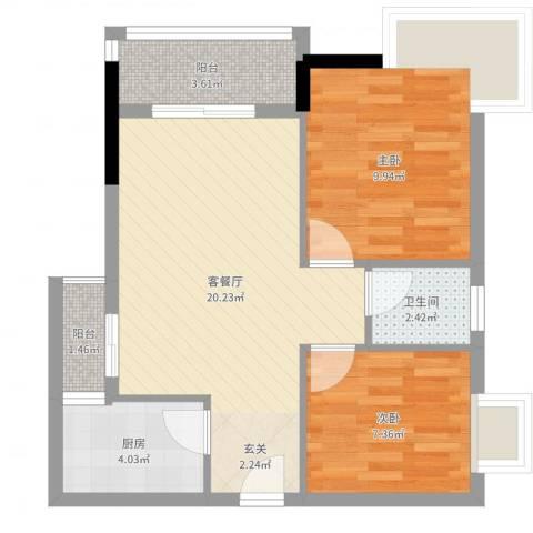 天喜东方2室2厅1卫1厨61.00㎡户型图