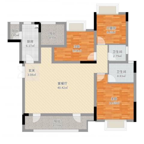 融创凡尔赛花园3室2厅2卫1厨128.00㎡户型图