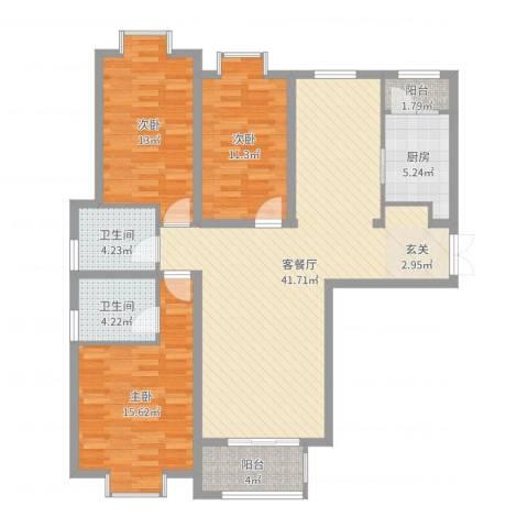金吉华冠苑3室2厅2卫1厨126.00㎡户型图