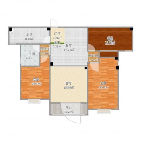 幸福花园3室2厅1卫1厨125.00㎡户型图
