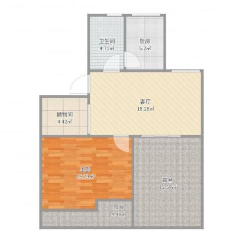 丽泽荷亭苑A4型60.11-60.55平方1室1厅1卫1厨86.00㎡户型图