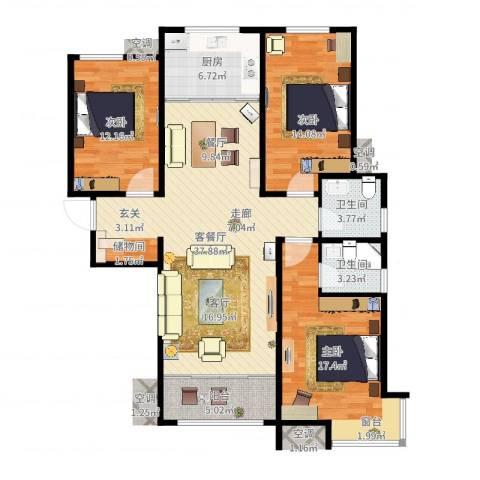 颐景园小区3室2厅2卫1厨125.00㎡户型图