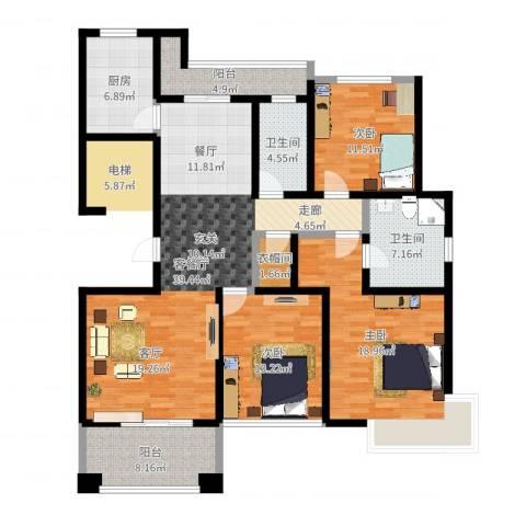 铭邦华府3室2厅2卫1厨146.00㎡户型图