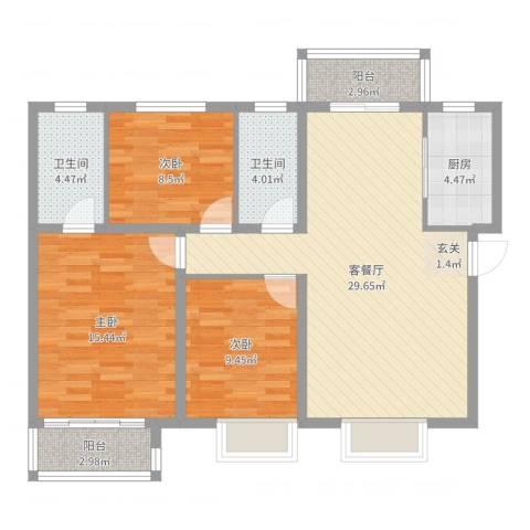 新城明珠3室2厅2卫1厨102.00㎡户型图