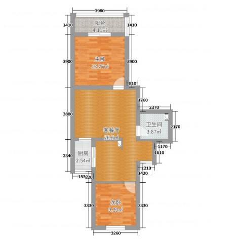 天宁寺南里小区2室2厅1卫1厨75.00㎡户型图
