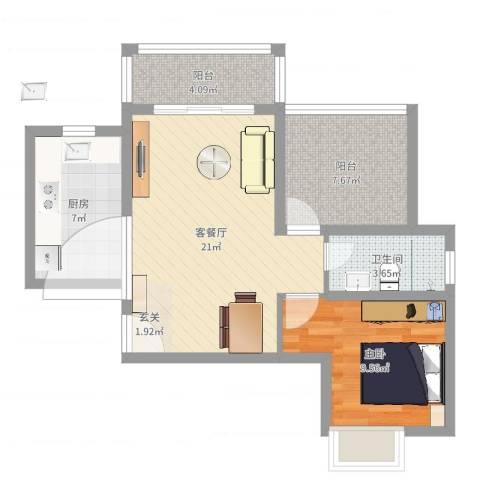 珠海港城花园1室2厅1卫1厨66.00㎡户型图