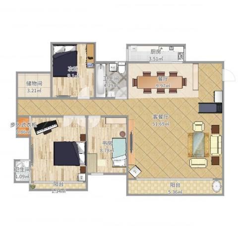 汇华花园2室2厅2卫1厨130.00㎡户型图