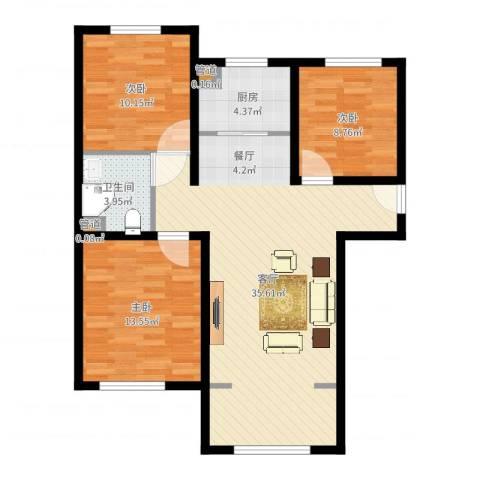 K2京西狮子城3室1厅1卫1厨96.00㎡户型图