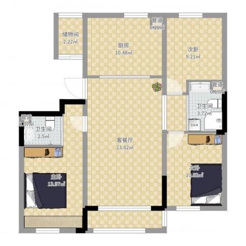 多恩居住岛3室2厅2卫1厨102.00㎡户型图