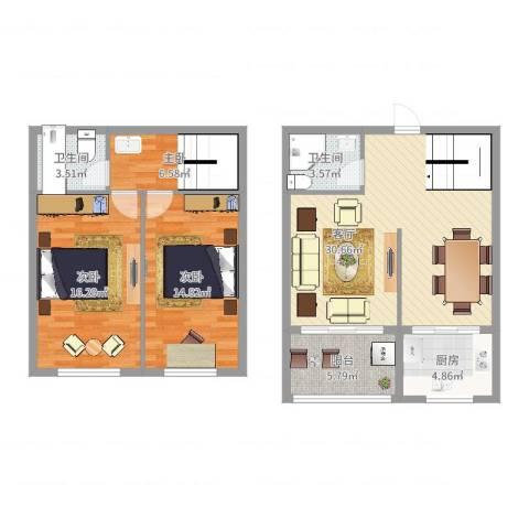 泛亚国际3室1厅2卫1厨108.00㎡户型图