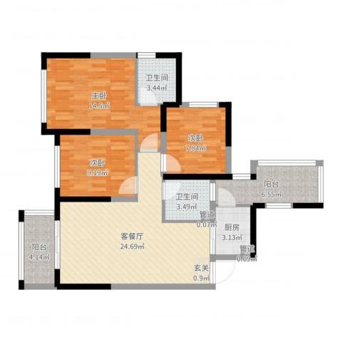 加州国际3室2厅2卫1厨96.00㎡户型图