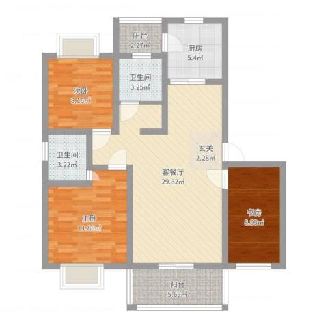 御都花园3室2厅2卫1厨98.00㎡户型图