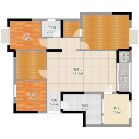柏涟温莎名苑2室3厅1卫1厨124.00㎡户型图