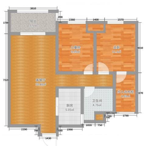 凤凰湖壹号2室2厅1卫1厨91.00㎡户型图