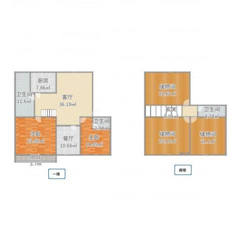 南亭公寓2室2厅3卫1厨243.00㎡户型图