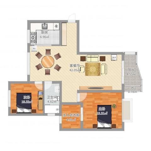 东方花园2室2厅1卫1厨112.00㎡户型图