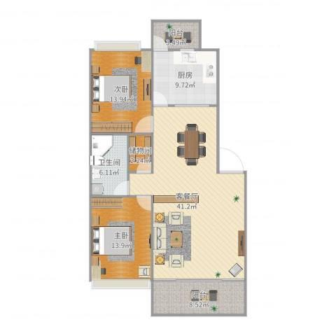 美湖花园2室2厅1卫1厨124.00㎡户型图