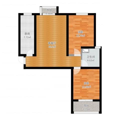 旭东花园2室2厅1卫1厨85.00㎡户型图