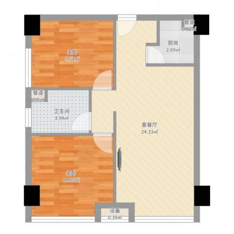 雅戈尔东湖花园2室2厅1卫1厨65.00㎡户型图