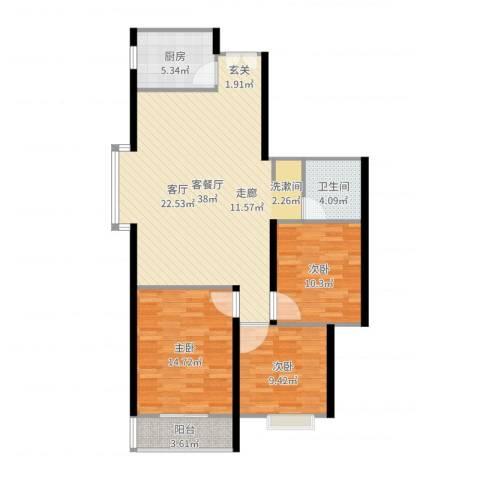 上林沣苑3室2厅1卫1厨107.00㎡户型图