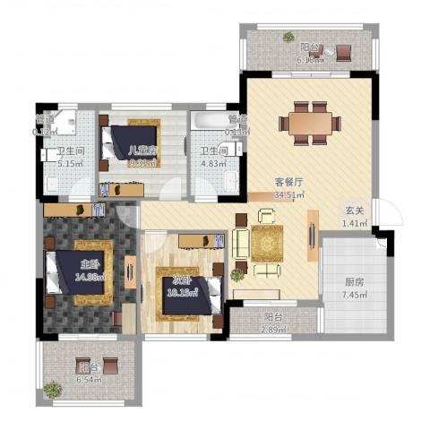 池州碧桂园3室2厅2卫1厨128.00㎡户型图