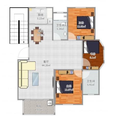 名都绿洲3室1厅2卫1厨124.00㎡户型图