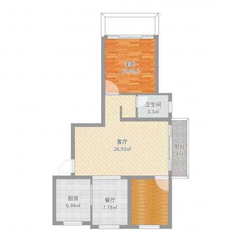 张家村14-2-14021室2厅1卫1厨88.00㎡户型图