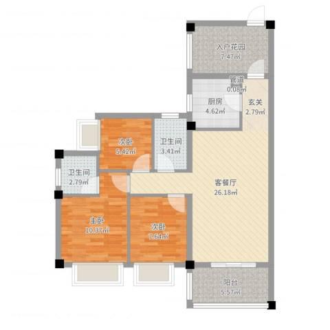 TPARK时尚公园3室2厅2卫1厨92.00㎡户型图