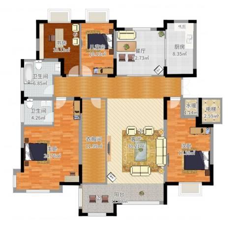 康和西岸4室1厅2卫1厨208.00㎡户型图