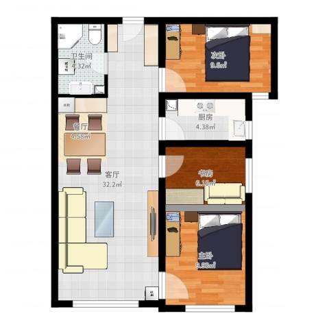 鸿坤・理想湾3室1厅1卫1厨83.00㎡户型图
