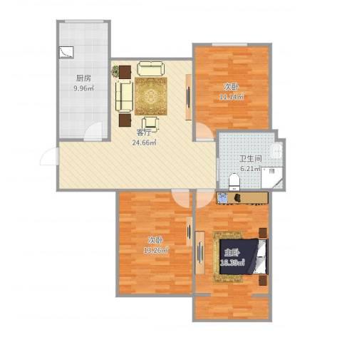 凯顺佳园3室1厅1卫1厨102.00㎡户型图