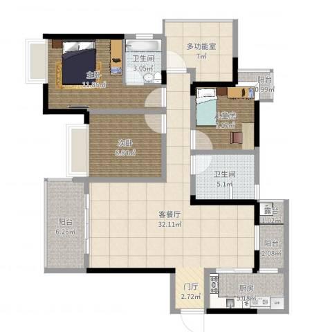 大足铜锣湾电梯房115大户型3室2厅2卫1厨113.00㎡户型图