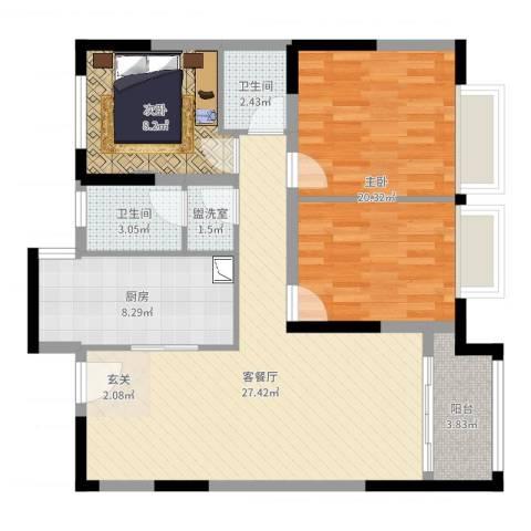万锦豪庭2室4厅2卫1厨94.00㎡户型图