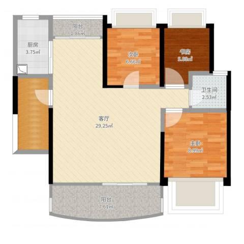 深业泰然观澜玫瑰苑3室1厅1卫1厨88.00㎡户型图