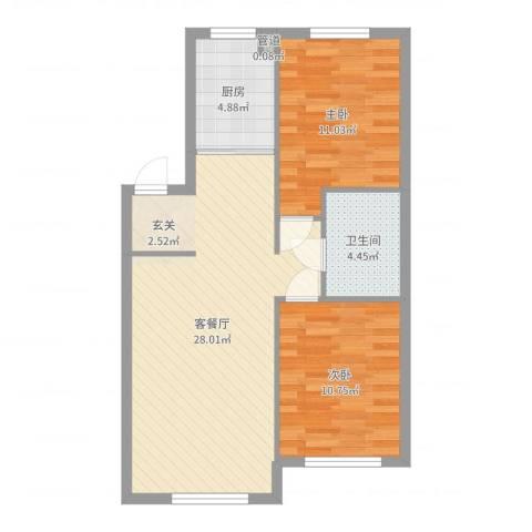 清河湾2室2厅1卫1厨74.00㎡户型图