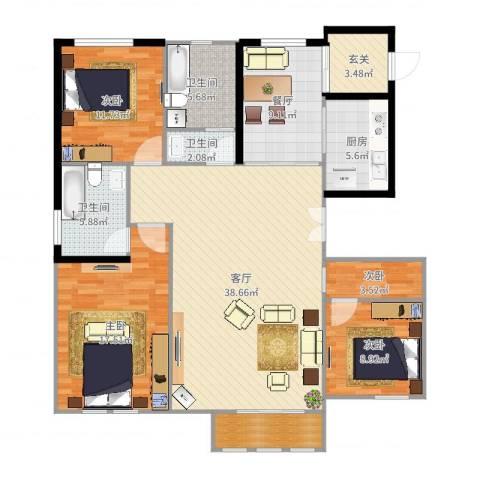 滨江国际4室2厅3卫1厨145.00㎡户型图