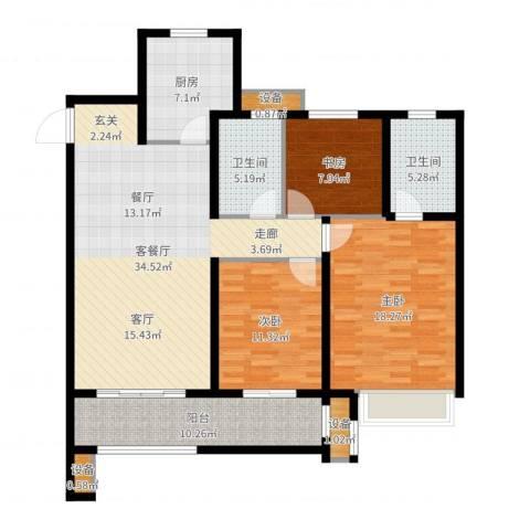 徐州华润绿地・凯旋门3室2厅2卫1厨128.00㎡户型图