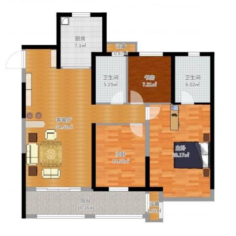 徐州华润绿地・凯旋门3室2厅2卫1厨130.00㎡户型图