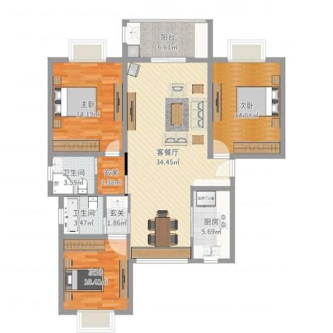 好日子大家园B区3室2厅2卫1厨121.00㎡户型图