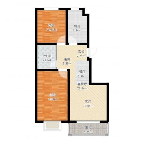 海东盛景2室2厅1卫1厨96.00㎡户型图