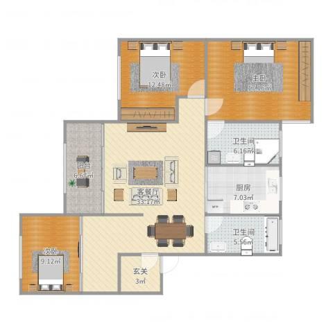 中铁大厦3室2厅2卫1厨125.00㎡户型图