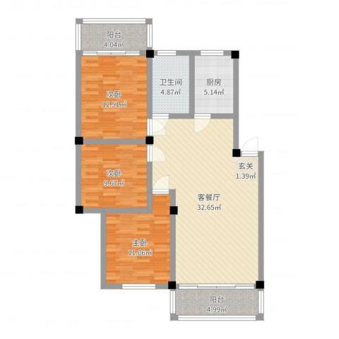 春馨苑3室2厅1卫1厨106.00㎡户型图