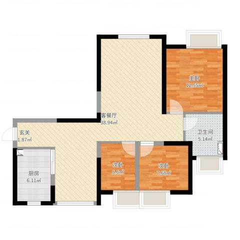 城开珑庭3室2厅1卫1厨95.00㎡户型图