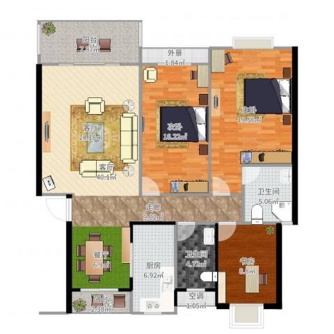 半山家园3室1厅2卫1厨143.00㎡户型图