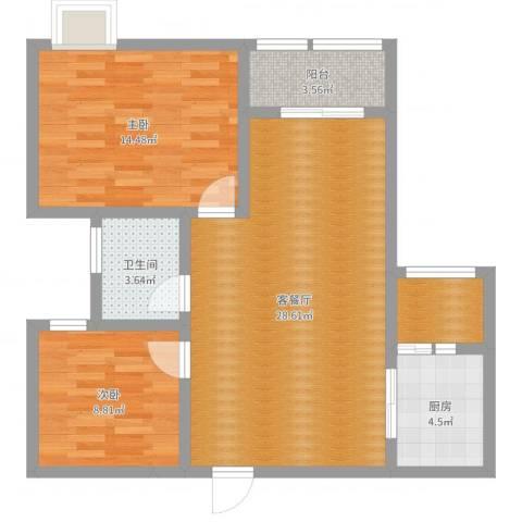 颐和园2室2厅1卫1厨83.00㎡户型图