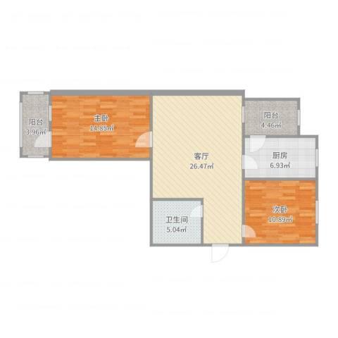 新佳园东里2室1厅1卫1厨91.00㎡户型图