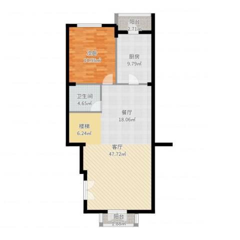 复地香栀花园1室1厅1卫1厨102.00㎡户型图