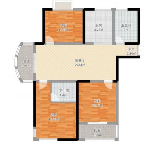 胜利华庭3室2厅2卫1厨127.00㎡户型图